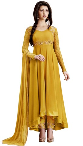 Lemon Yellow Georgette Anarkali Suits