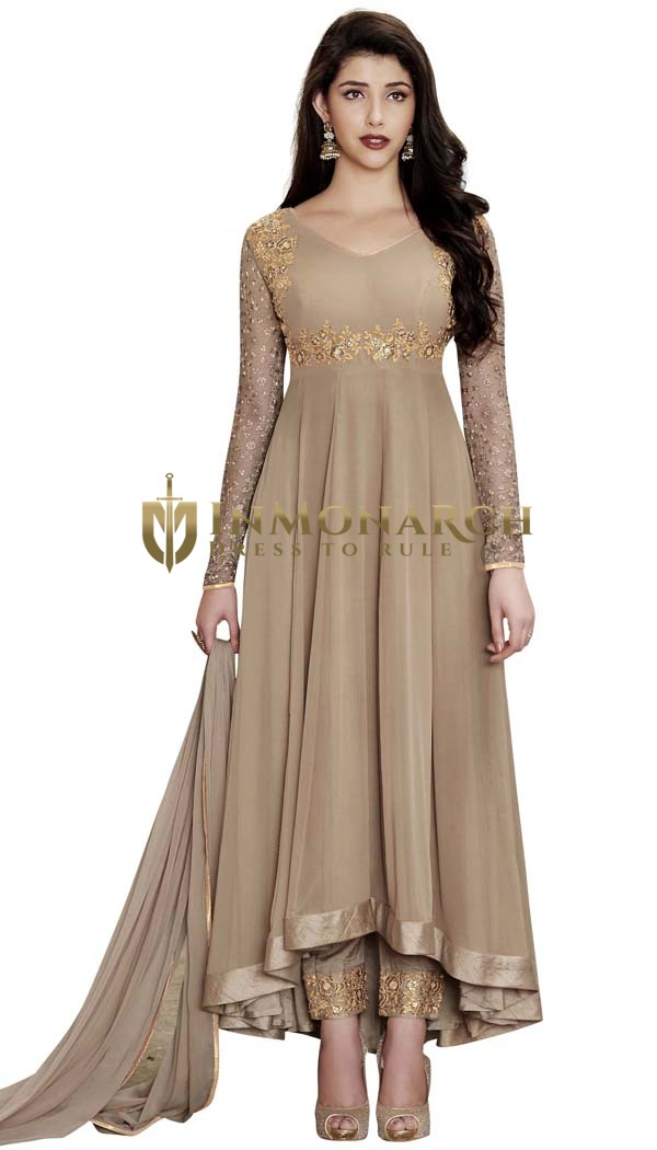 Beige Georgette Anarkali Suits