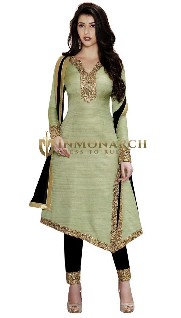 Green Khadi Silk Side Cut Salwar Suit