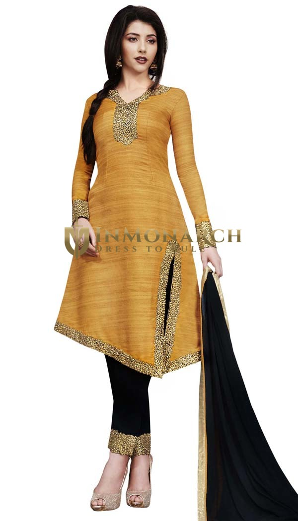 Orange Khadi Silk Side Cut Salwar Kameez