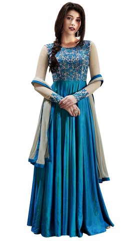Sky Blue Handloom Silk Anarkali Suit