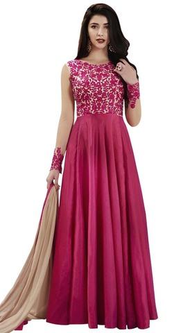 Magenta Handloom Silk Anarkali Suit