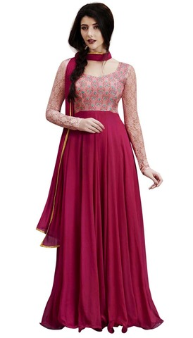 Magenta Georgette Wedding Indowestern Suit