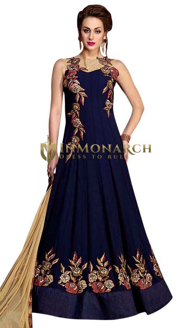 Exclusive Navy Blue Gown Pattern Suit