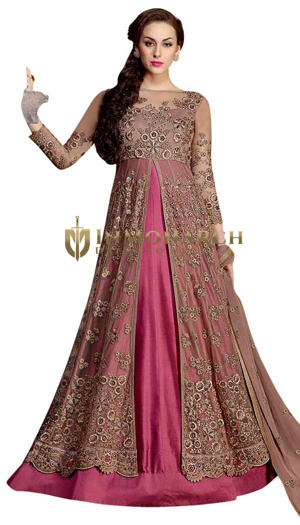 Embroidered Magenta Anarkali Suit