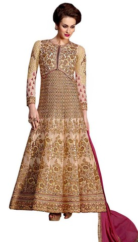 Heavy Kali Work Ivory Anarkali Suit