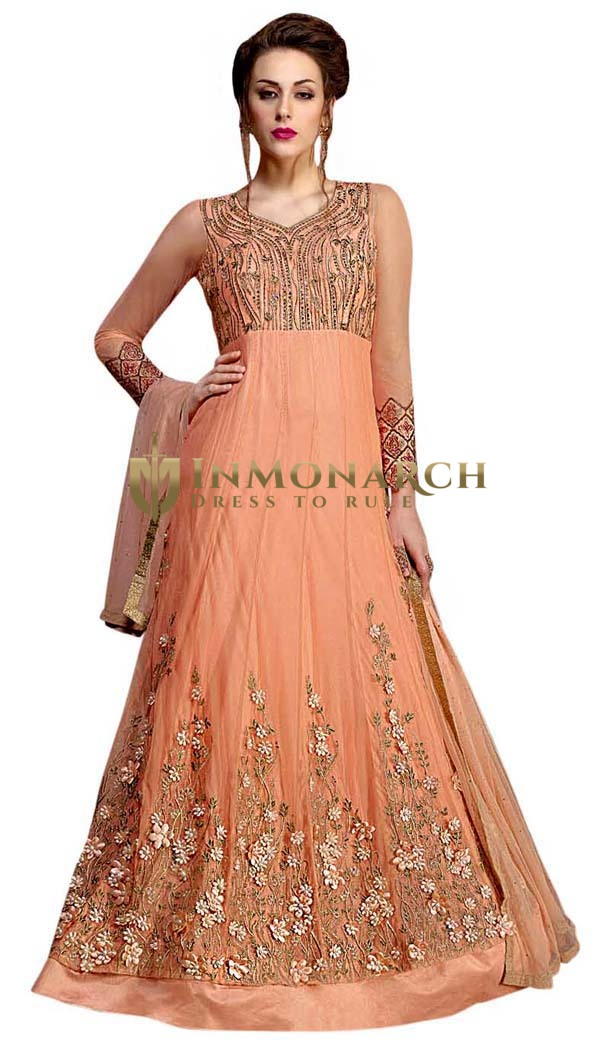 Machine Embroidered Peach Anarkali Suit