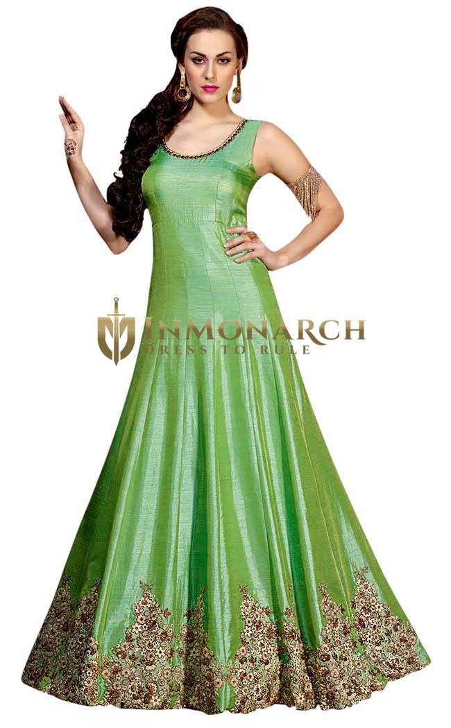 Green and Beige Pure Silk Anarkali Suit