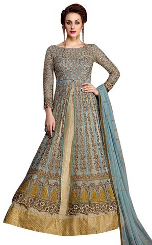 Sky Blue and Beige Net Anarkali Suit