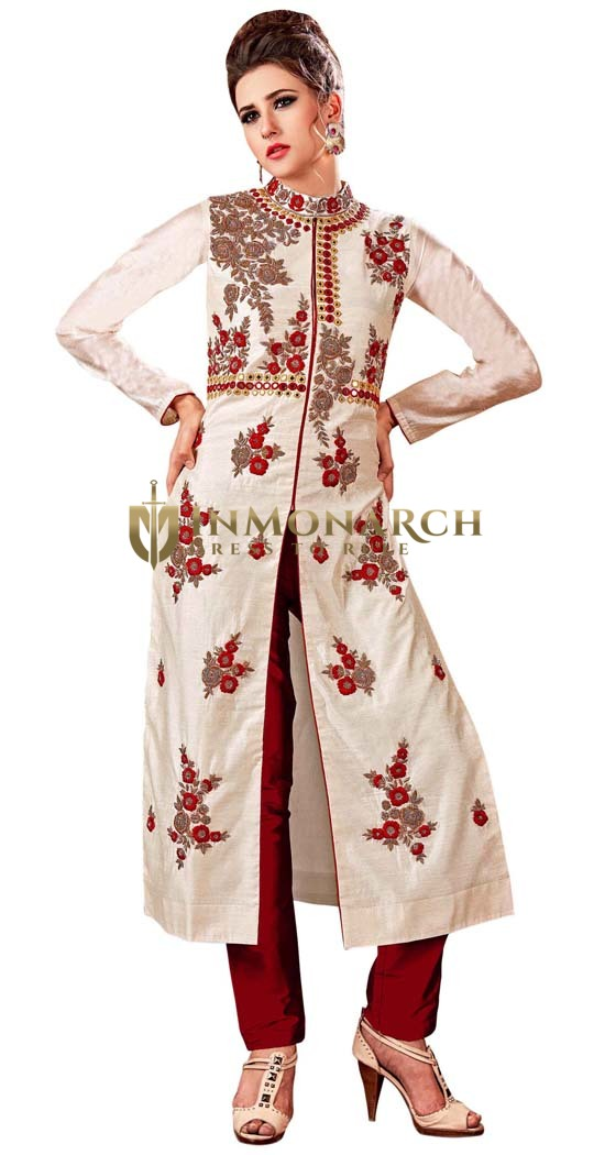 Off White and Maroon Handwork Salwar Suit