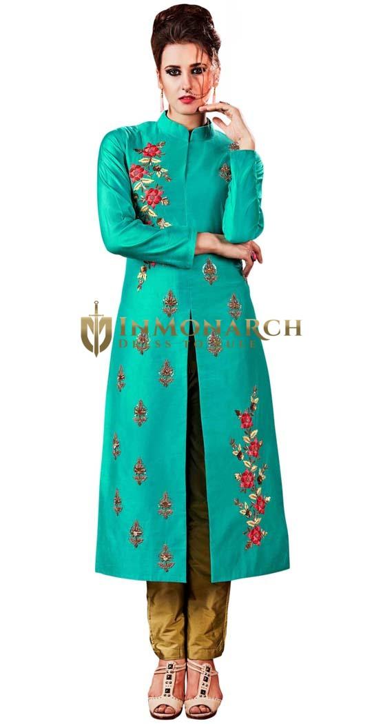 Teal and Golden Embroidered Salwar Kameez