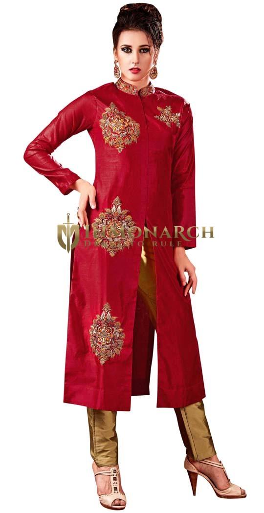 Crimson Silk and Golden Salwar Kameez