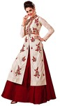 Off White and Maroon Handwork Lehenga