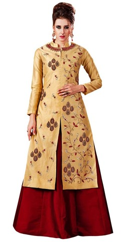 Peach Silk Bridal Indowestern Suit