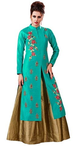 Teal and Golden Embroidered Lehenga