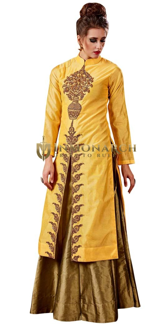Yellow and Golden Traditional Lehenga