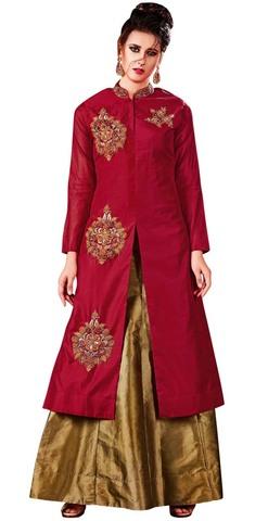 Crimson Silk and Golden Lehenga Choli