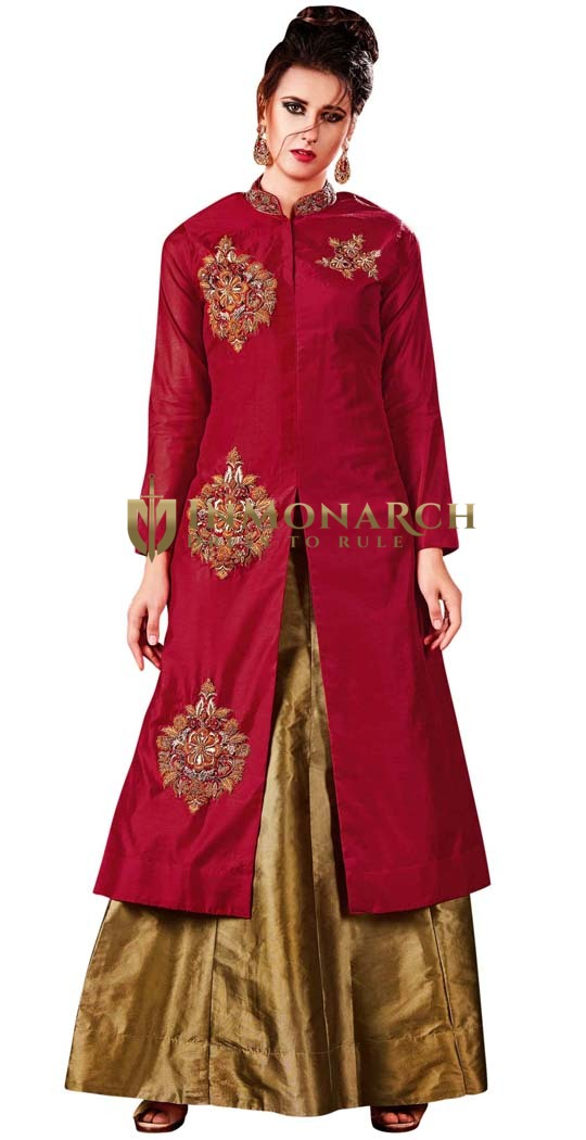 Crimson Silk and Golden Lehenga Choli
