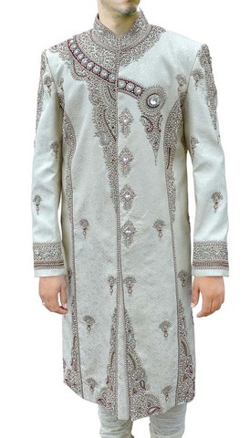 Mens Cream 2 Pc Sherwani Royal Groom Designer