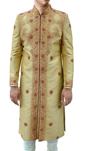 Mens Golden 2 Pc Sherwani Embroidered