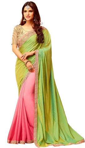 Pink and Light Green Partywear Saree