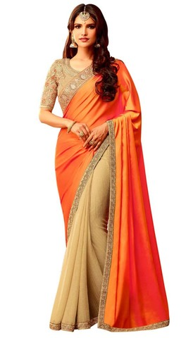 Beige and Orange Georgette Bridal Saree