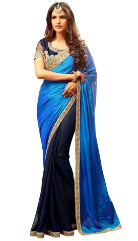 Navy Blue and Blue Silk and Georgette Saree