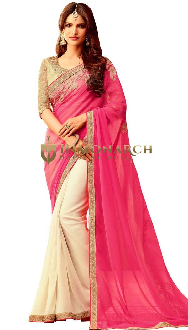 Ivory and Pink Georgette Wedding Saree