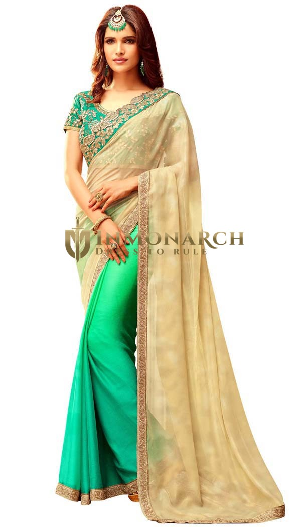 Shaded Turquoise and Beige Bridal Saree