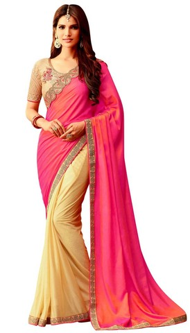 Yellow and Pink Silk Partywear Saree