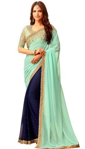 Dark Navy and Cyan Georgette and Chiffon Sari