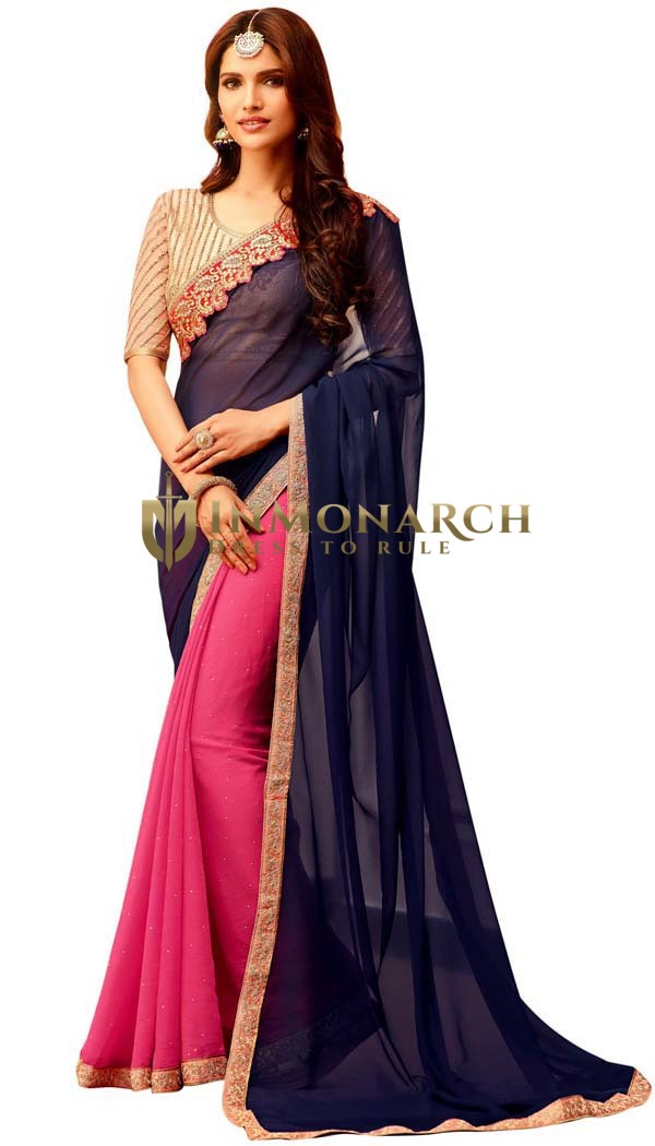 Magenta and Navy Blue Georgette Saree