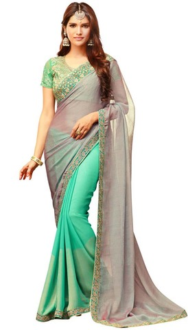 Turquoise and Silver Silk and Georgette Saree