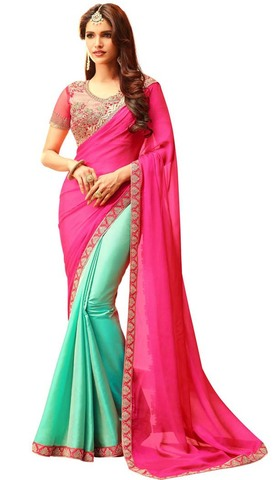 Turquoise and Magenta Silk Partywear Saree