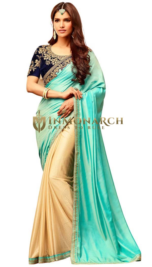 Yellow and Turquoise Silk Wedding Saree