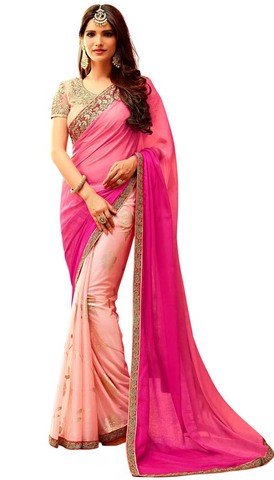 Peach and Magenta Silk Bridal Saree