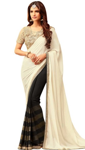 Black and Off White Georgette Saree