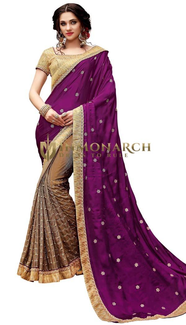 Bronze and Purple Silk Satin Partywear Saree