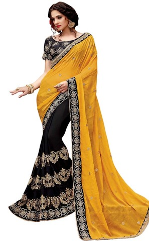 Black and Yellow Georgette and Chiffon Saree