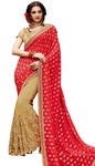 Beige and Crimson Fancy Bridal Saree