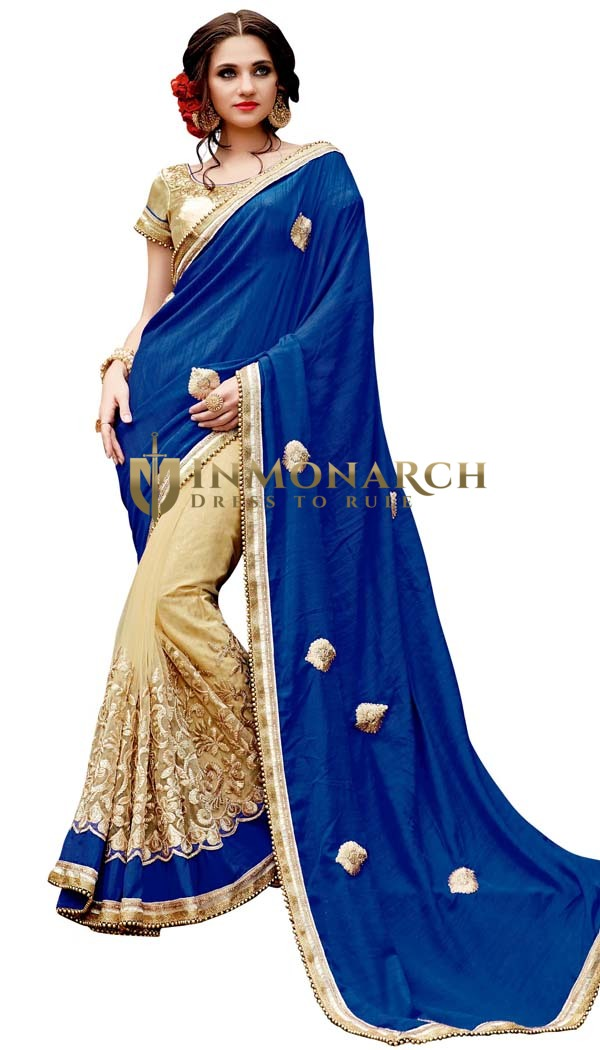 Royal Blue and Beige Silk Partywear Saree