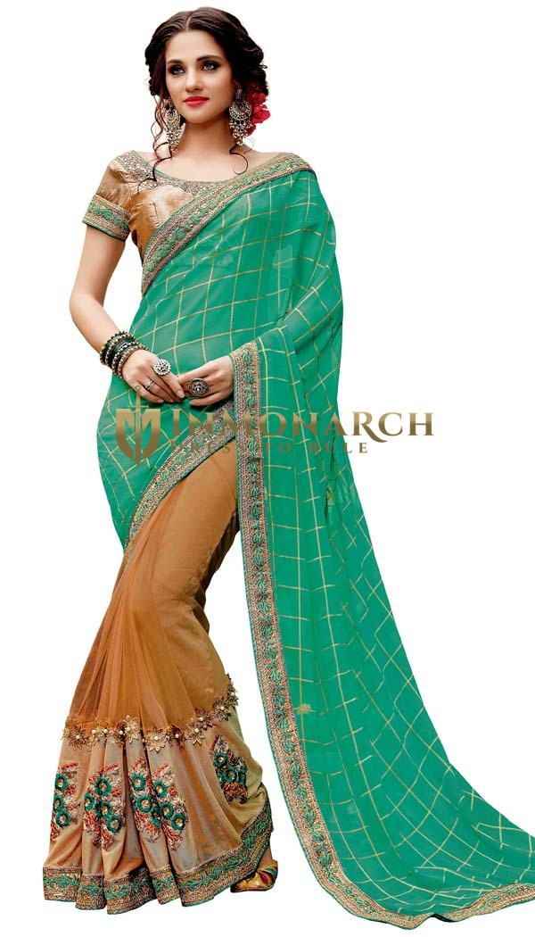 Copper and Teal Pure Viscose Bridal Saree