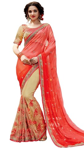 Beige and Red Two Tone Designer Saree