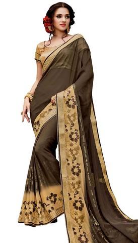 Shaded Olive Darb Georgette Partywear Sari