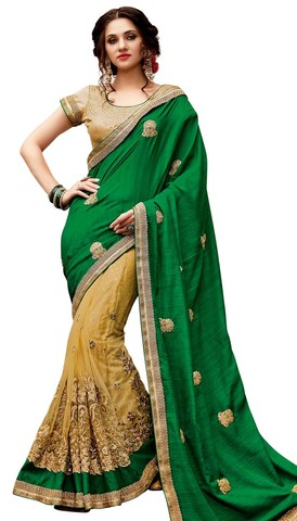 Yellow and Green Cut Work Bridal Saree