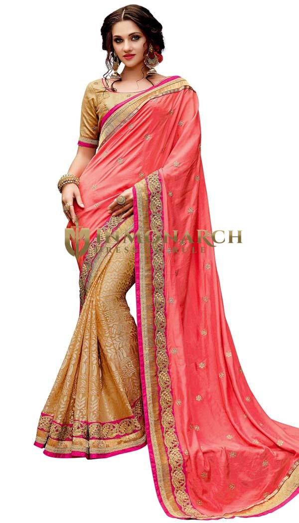 Light Yellow and Salmon Viscose Saree