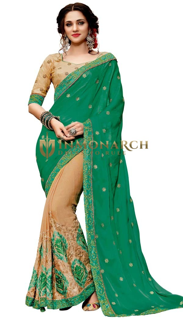 Beige and Teal Silk Jacquard Designer Saree