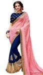 Dark Navy Pink Pure Georgette Partywear Saree
