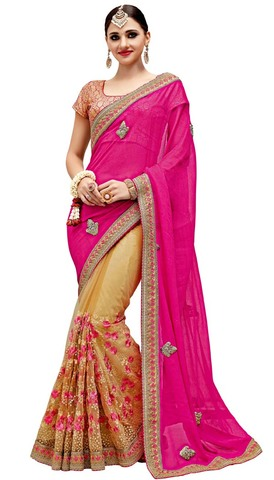 Beige and Magenta Net and Chiffon Saree