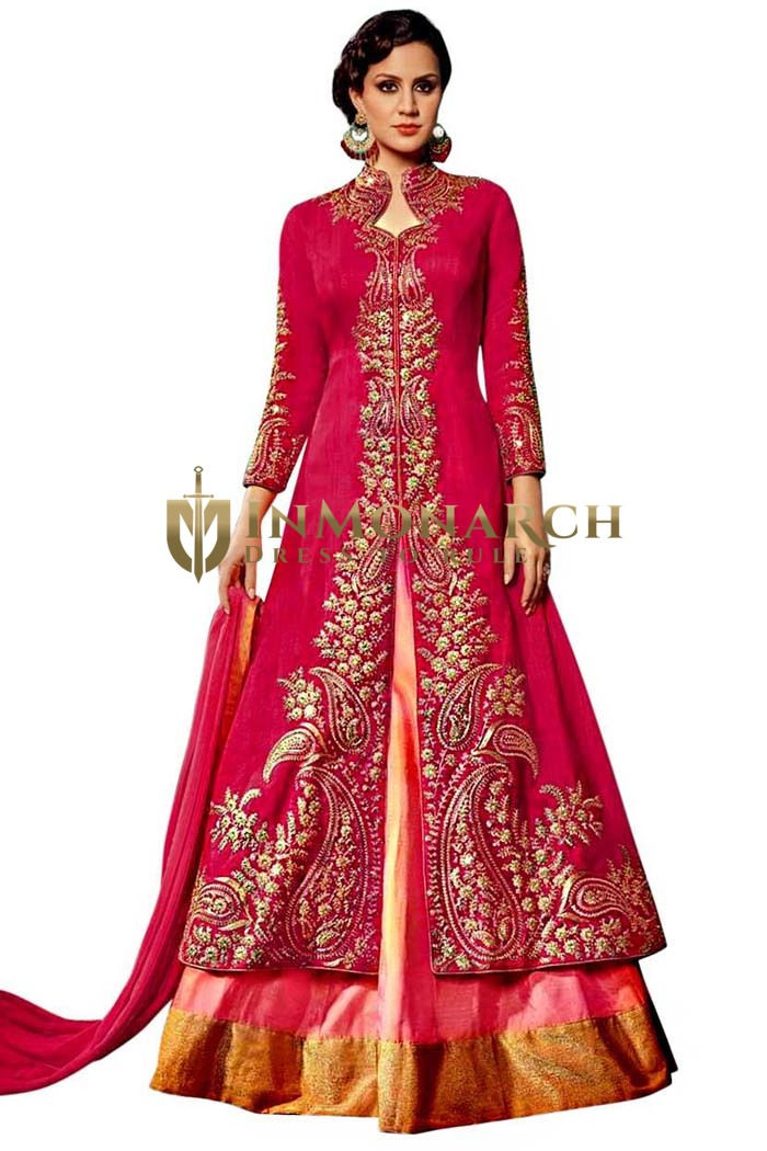 Pink and Crimson Royal Art Silk Gowns